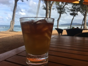 Enjoying a Mai Tai at the Lava Lava Beach Club